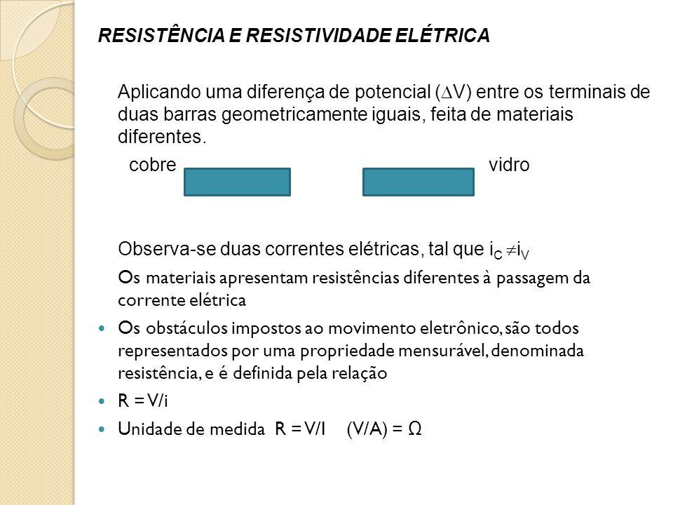 RESISTÊNCIA E RESISTIVIDADE ELÉTRICA