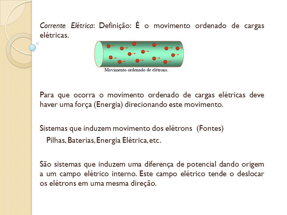 Corrente Elétrica: Definição: É o movimento ordenado de cargas elétricas.