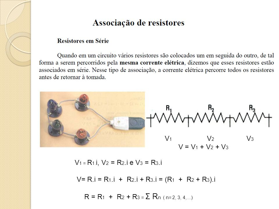 V1 V2 V3 V = V1 + V2 + V3. V1 = R1.i, V2 = R2.i e V3 = R3.i. V= R.i = R1.i + R2.i + R3.i = (R1 + R2 + R3).i.