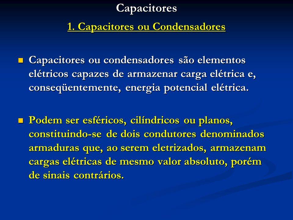 Capacitores 1. Capacitores ou Condensadores