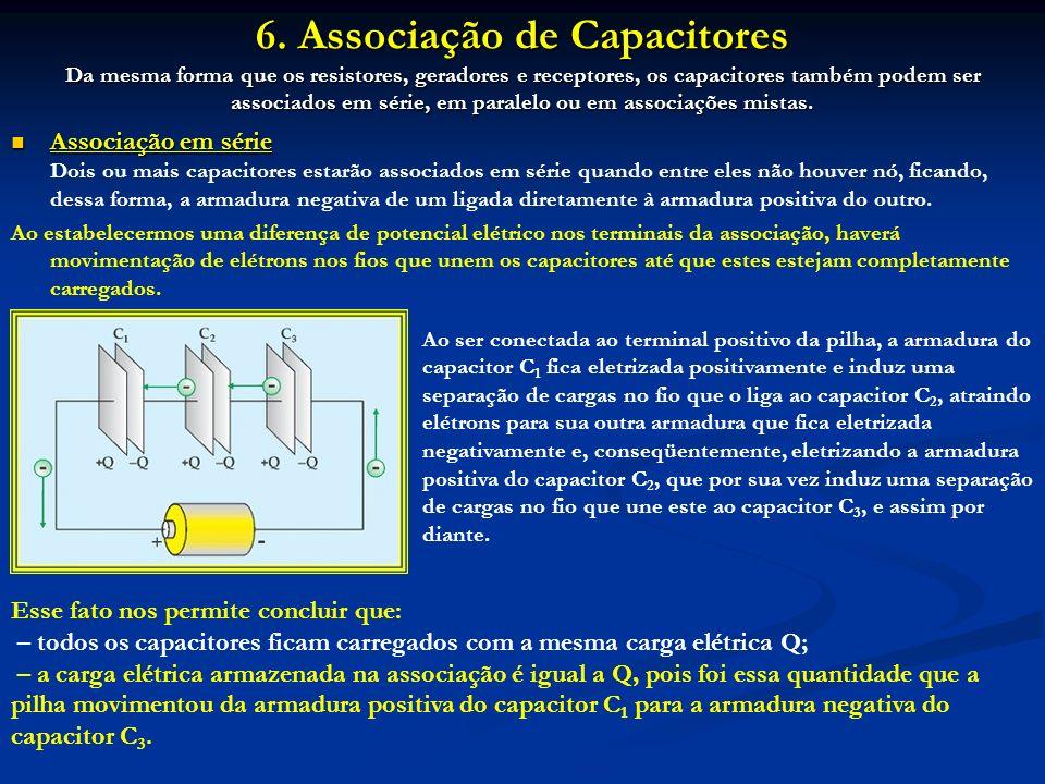 6. Associação de Capacitores Da mesma forma que os resistores, geradores e receptores, os capacitores também podem ser associados em série, em paralelo ou em associações mistas.