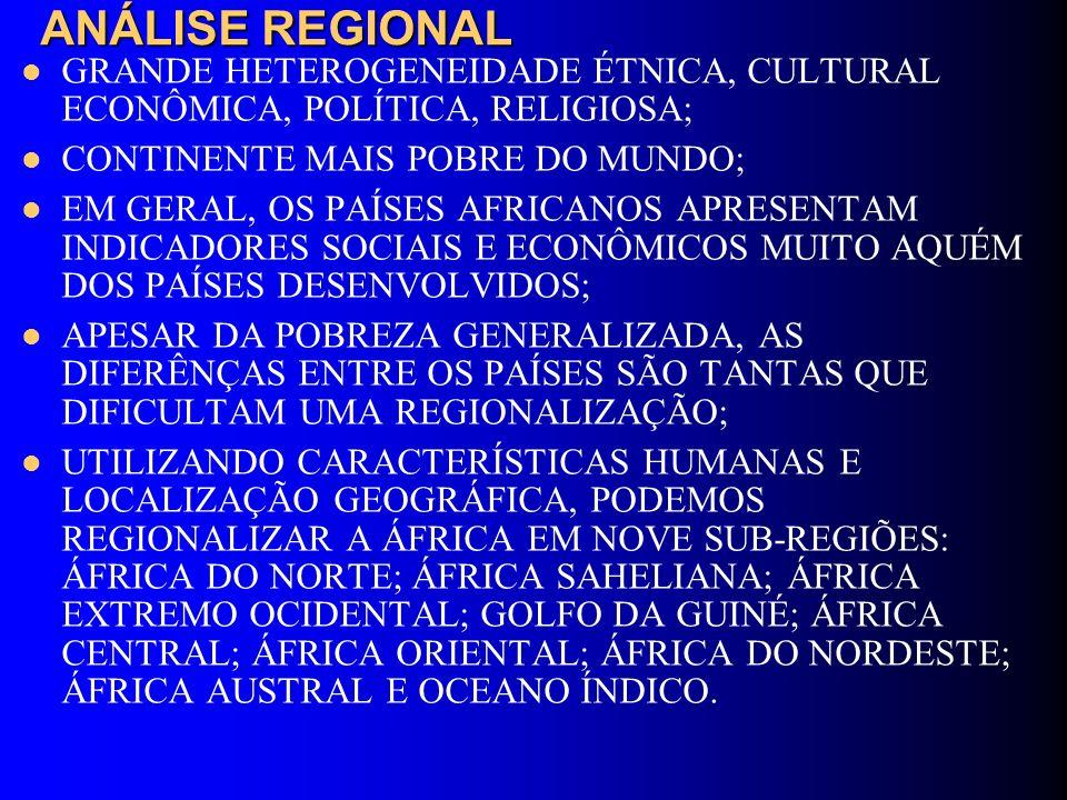 ANÁLISE REGIONAL GRANDE HETEROGENEIDADE ÉTNICA, CULTURAL ECONÔMICA, POLÍTICA, RELIGIOSA; CONTINENTE MAIS POBRE DO MUNDO;