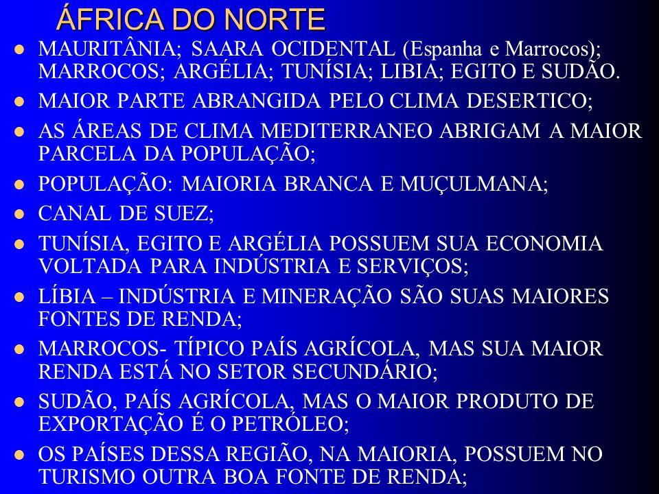 ÁFRICA DO NORTE MAURITÂNIA; SAARA OCIDENTAL (Espanha e Marrocos); MARROCOS; ARGÉLIA; TUNÍSIA; LIBIA; EGITO E SUDÃO.