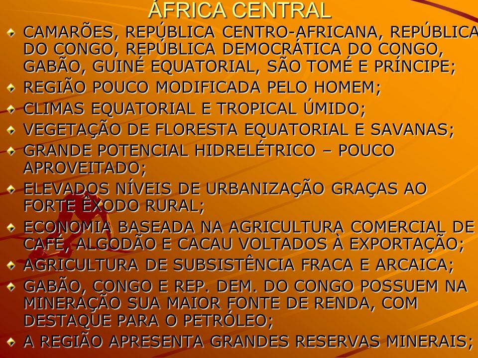 ÁFRICA CENTRAL CAMARÕES, REPÚBLICA CENTRO-AFRICANA, REPÚBLICA DO CONGO, REPÚBLICA DEMOCRÁTICA DO CONGO, GABÃO, GUINÉ EQUATORIAL, SÃO TOMÉ E PRÍNCIPE;