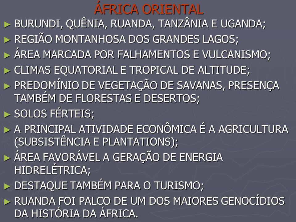 ÁFRICA ORIENTAL BURUNDI, QUÊNIA, RUANDA, TANZÂNIA E UGANDA;