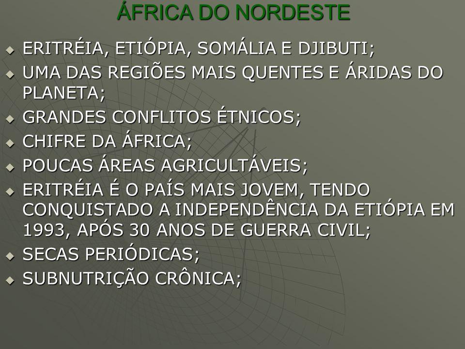 ÁFRICA DO NORDESTE ERITRÉIA, ETIÓPIA, SOMÁLIA E DJIBUTI;