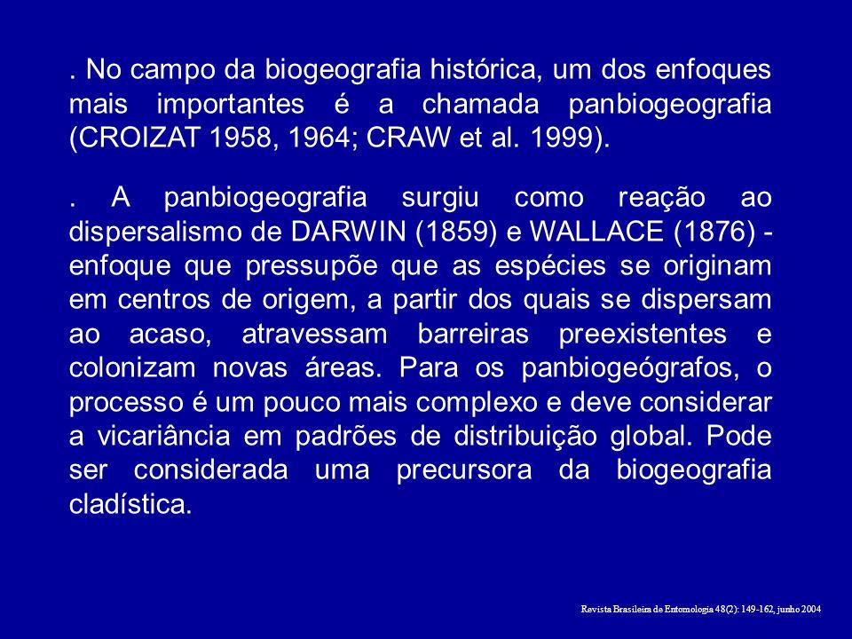 . No campo da biogeografia histórica, um dos enfoques mais importantes é a chamada panbiogeografia (CROIZAT 1958, 1964; CRAW et al. 1999).
