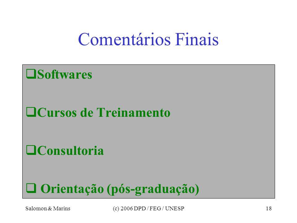 Comentários Finais Softwares Cursos de Treinamento Consultoria