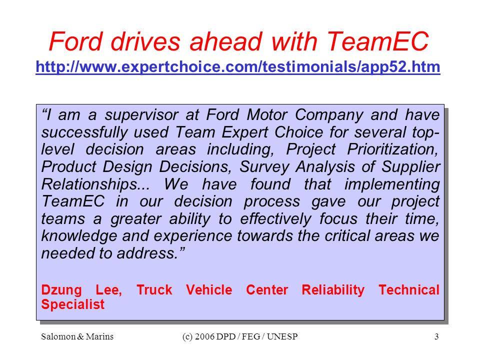 Ford drives ahead with TeamEC http://www. expertchoice