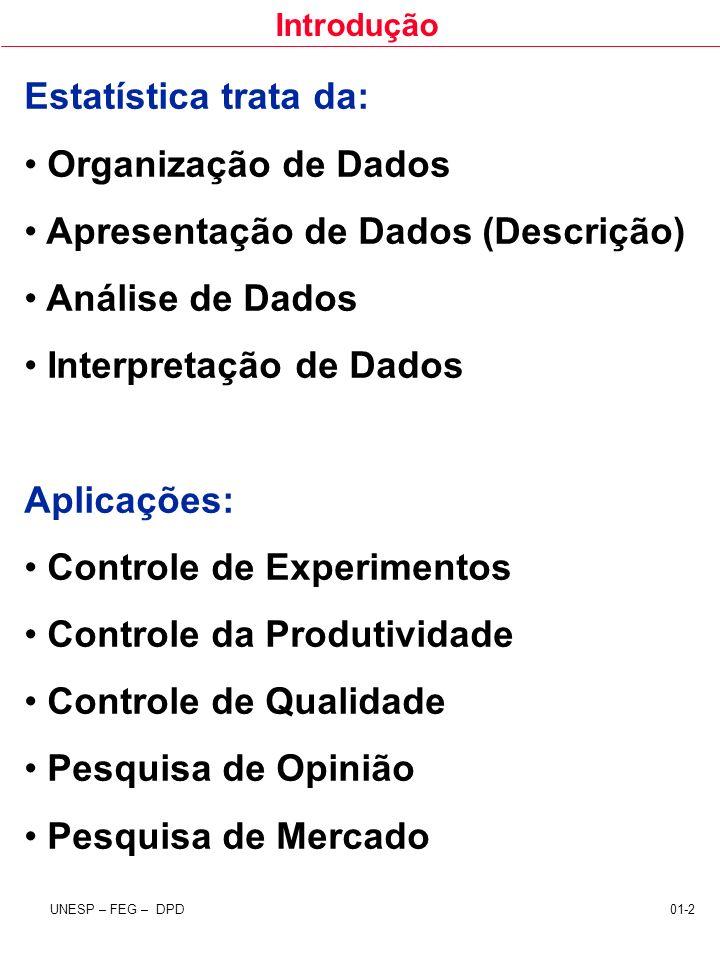 Estatística trata da: Organização de Dados. Apresentação de Dados (Descrição) Análise de Dados. Interpretação de Dados.