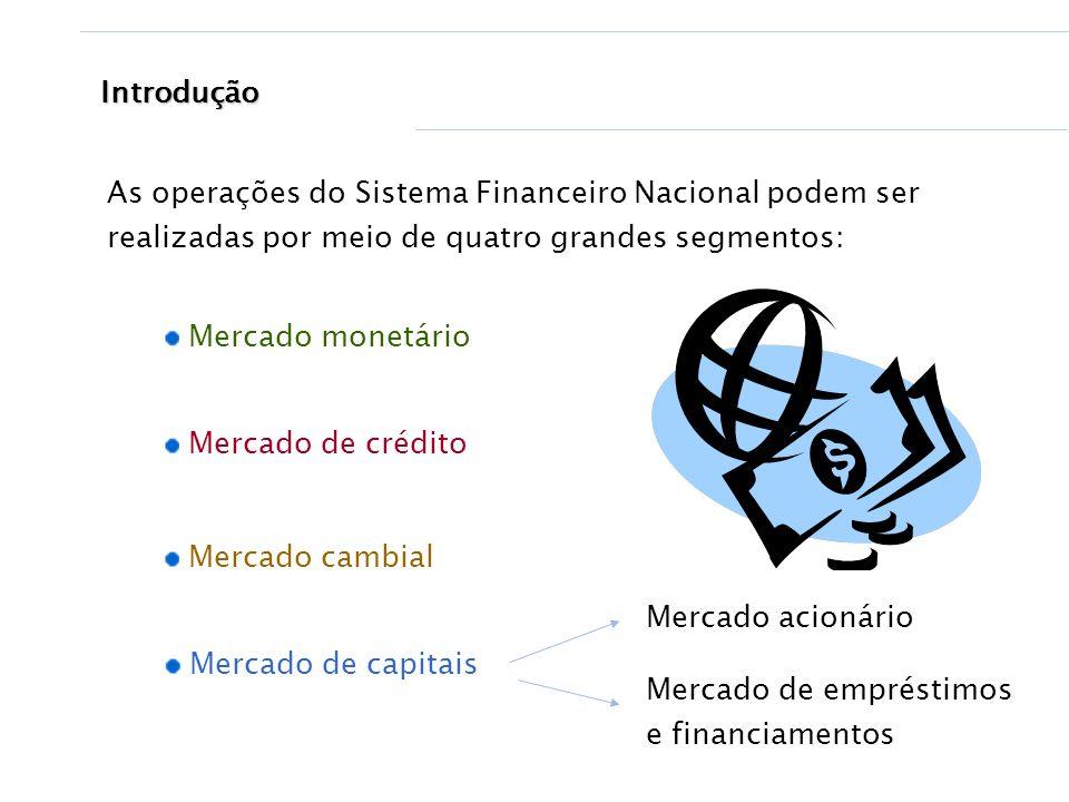 Introdução As operações do Sistema Financeiro Nacional podem ser realizadas por meio de quatro grandes segmentos:
