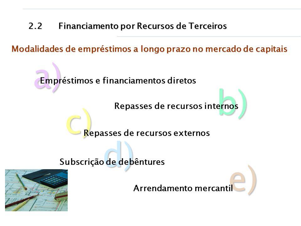 a) b) c) d) e) 2.2 Financiamento por Recursos de Terceiros