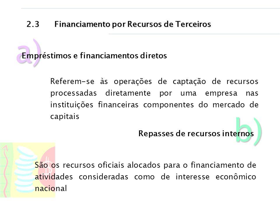 a) b) 2.3 Financiamento por Recursos de Terceiros