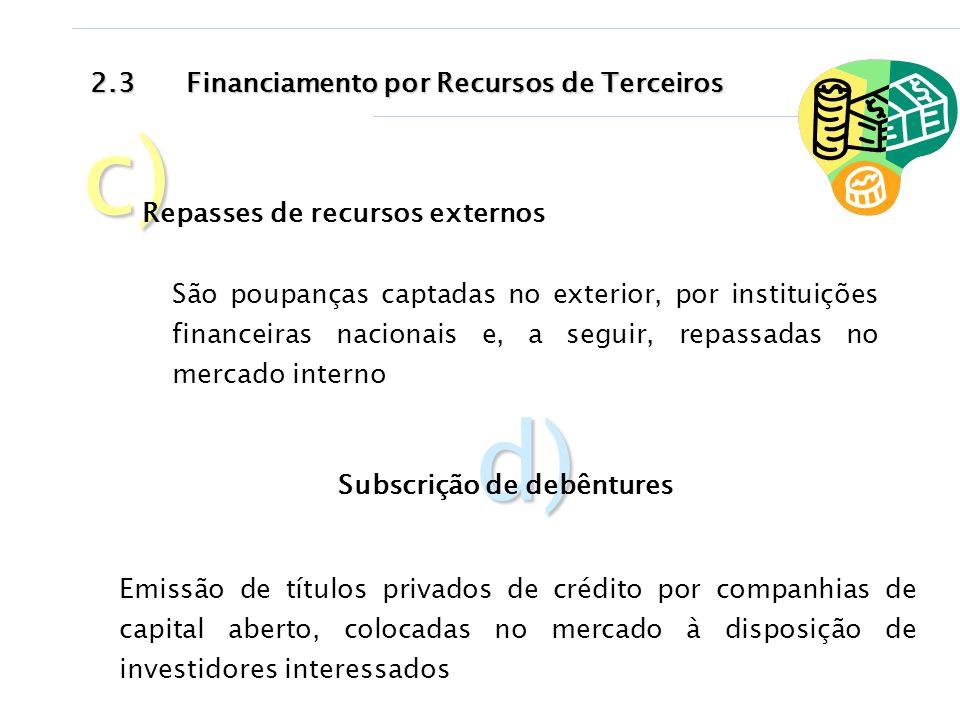 c) d) 2.3 Financiamento por Recursos de Terceiros