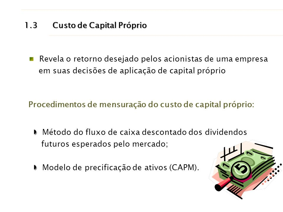 1.3 Custo de Capital Próprio