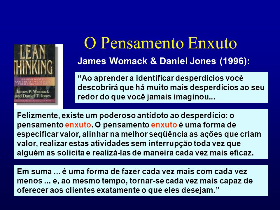 O Pensamento Enxuto James Womack & Daniel Jones (1996):