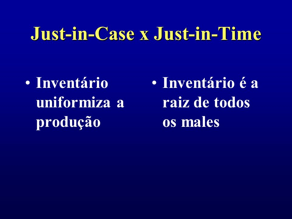 Just-in-Case x Just-in-Time