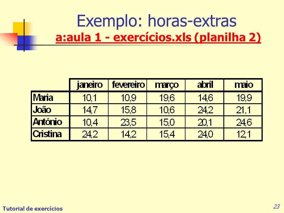 Exemplo: horas-extras a:aula 1 - exercícios.xls (planilha 2)