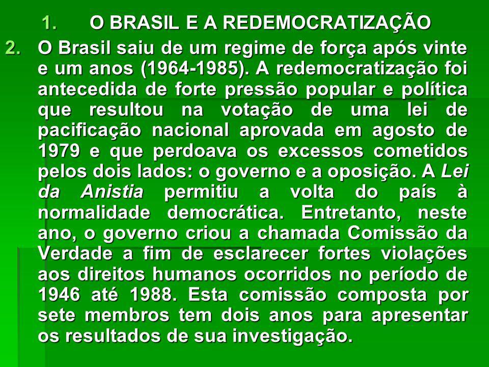 O BRASIL E A REDEMOCRATIZAÇÃO