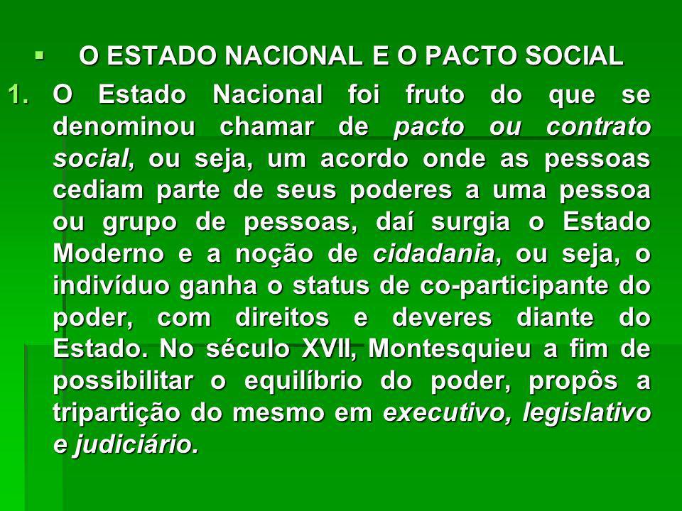 O ESTADO NACIONAL E O PACTO SOCIAL