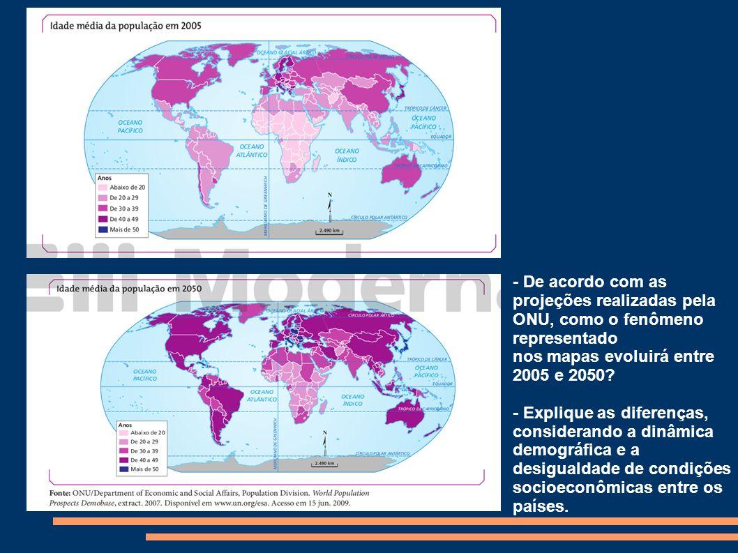 - De acordo com as projeções realizadas pela ONU, como o fenômeno representado