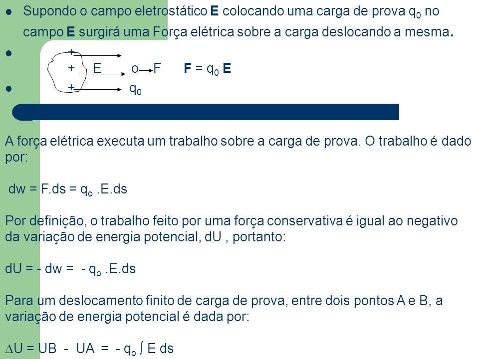 Supondo o campo eletrostático E colocando uma carga de prova q0 no campo E surgirá uma Força elétrica sobre a carga deslocando a mesma.