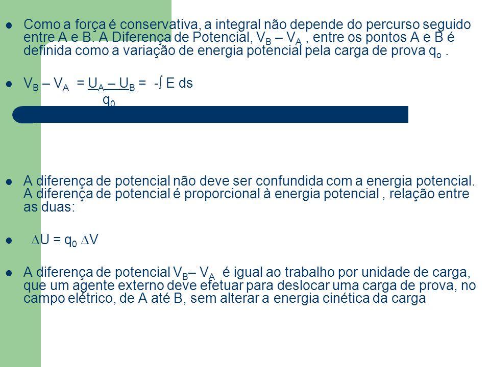 Como a força é conservativa, a integral não depende do percurso seguido entre A e B. A Diferença de Potencial, VB – VA , entre os pontos A e B é definida como a variação de energia potencial pela carga de prova qo .