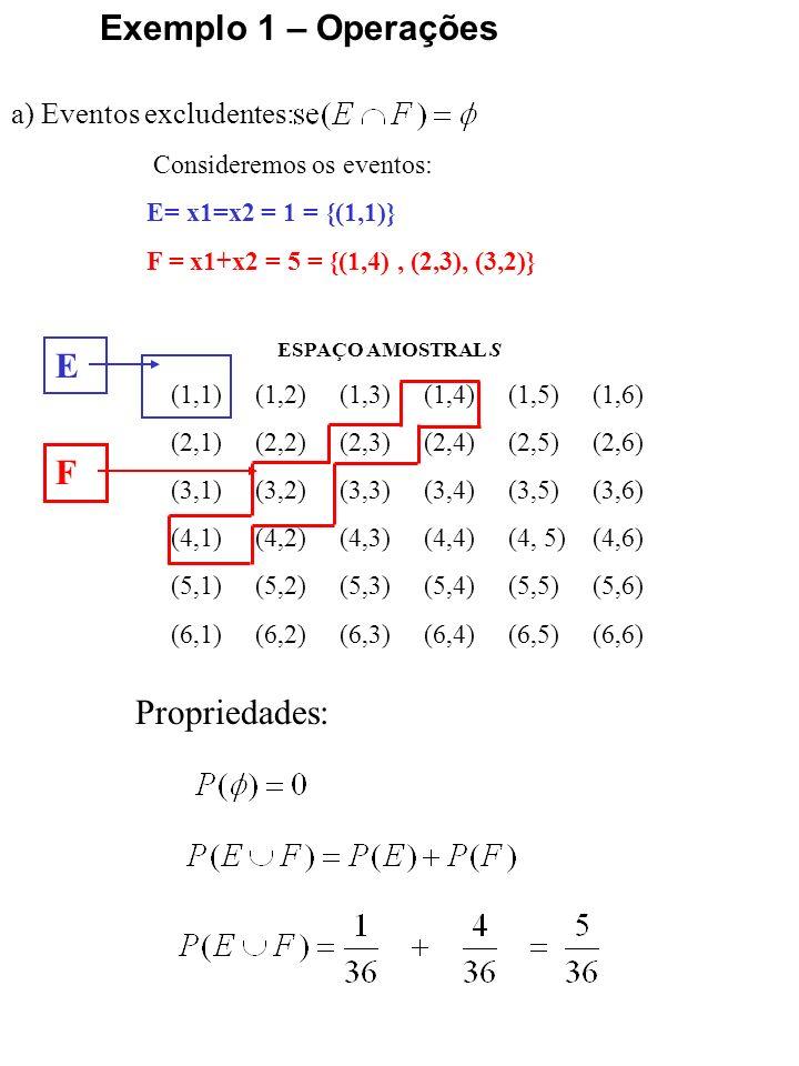 Exemplo 1 – Operações E F Propriedades: a) Eventos excludentes: