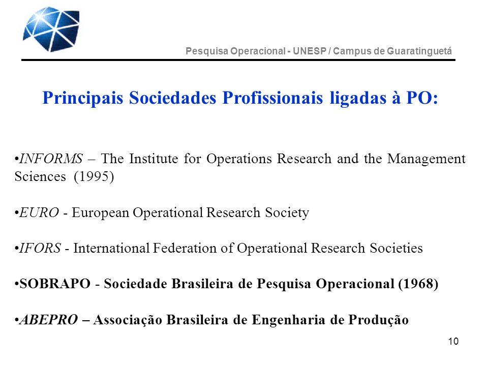 Principais Sociedades Profissionais ligadas à PO: