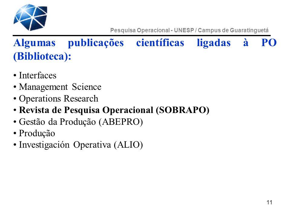 Algumas publicações científicas ligadas à PO (Biblioteca):