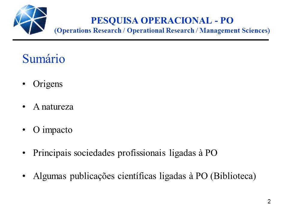PESQUISA OPERACIONAL - PO