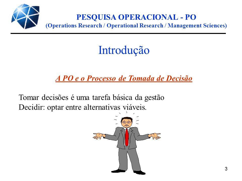 PESQUISA OPERACIONAL - PO A PO e o Processo de Tomada de Decisão