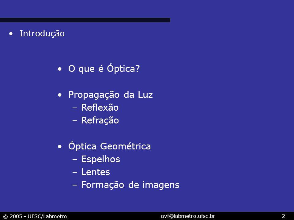 O que é Óptica Propagação da Luz Reflexão Refração Óptica Geométrica