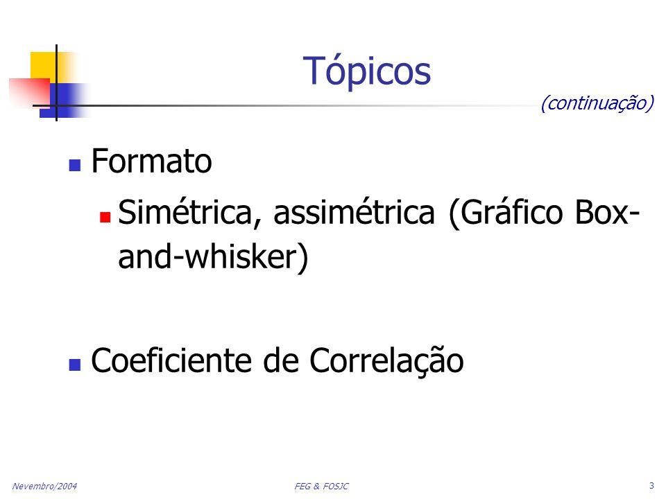 Tópicos Formato Simétrica, assimétrica (Gráfico Box-and-whisker)