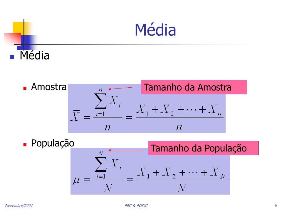Média Média Amostra População Tamanho da Amostra Tamanho da População