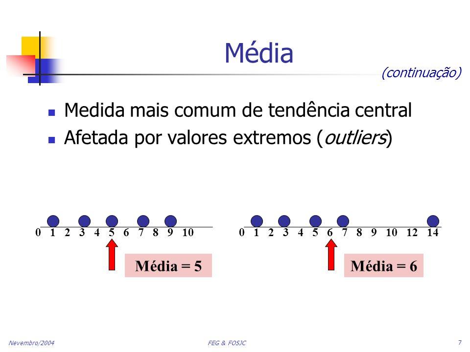 Média Medida mais comum de tendência central