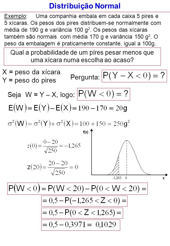 Distribuição Normal X = peso da xícara Y = peso do pires Pergunta: