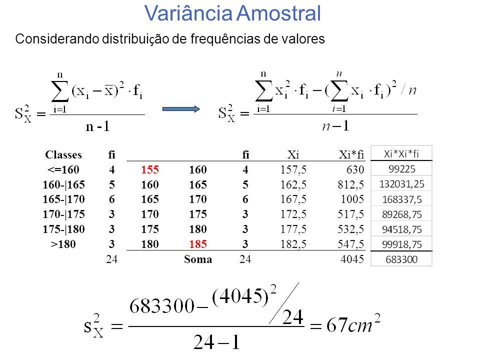 Considerando distribuição de frequências de valores
