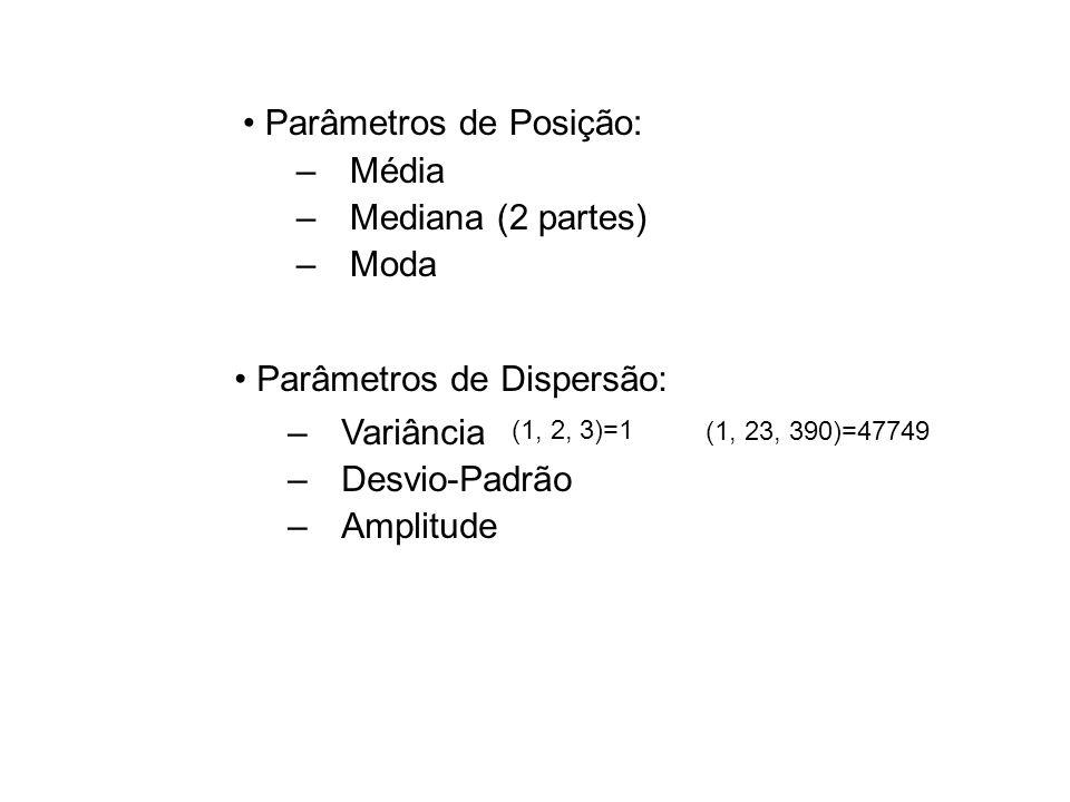 Parâmetros de Posição: Média Mediana (2 partes) Moda