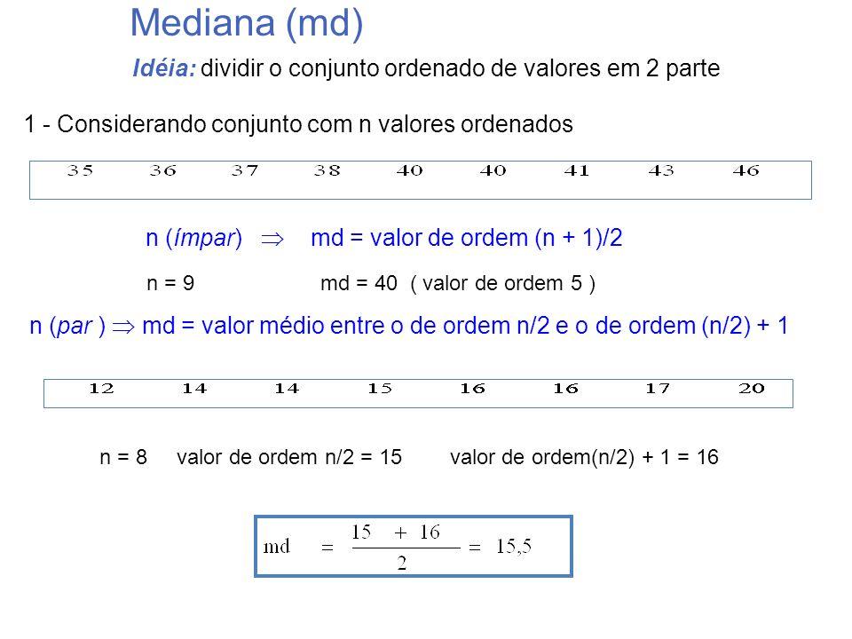 Idéia: dividir o conjunto ordenado de valores em 2 parte