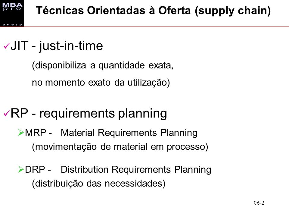 Técnicas Orientadas à Oferta (supply chain)
