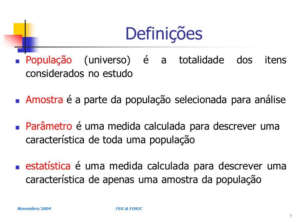 Definições População (universo) é a totalidade dos itens considerados no estudo. Amostra é a parte da população selecionada para análise.