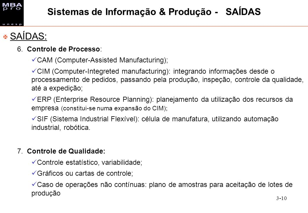Sistemas de Informação & Produção - SAÍDAS