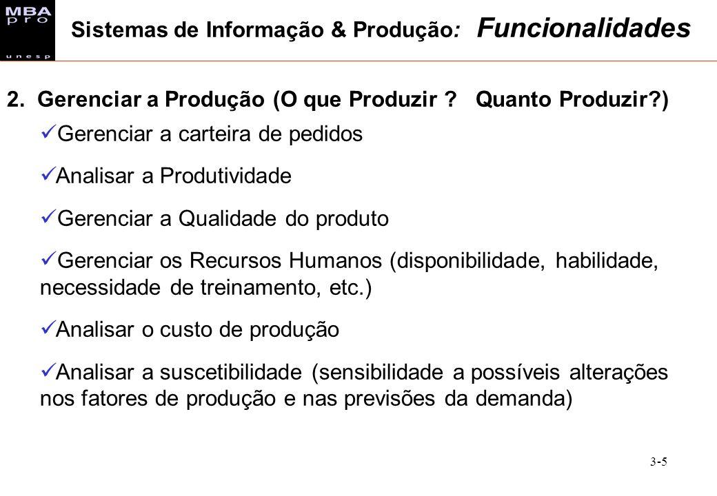 Sistemas de Informação & Produção: Funcionalidades