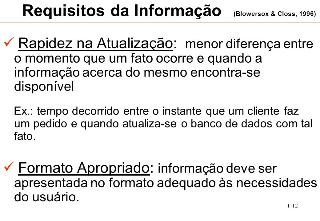 Requisitos da Informação (Blowersox & Closs, 1996)