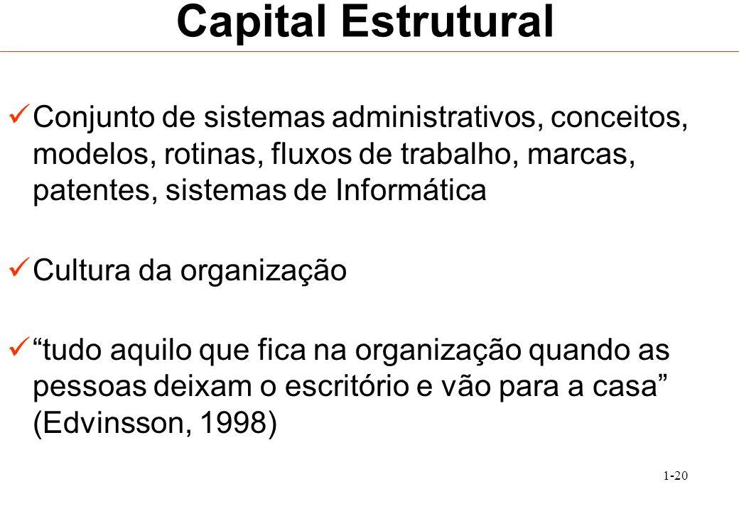 Capital EstruturalConjunto de sistemas administrativos, conceitos, modelos, rotinas, fluxos de trabalho, marcas, patentes, sistemas de Informática.