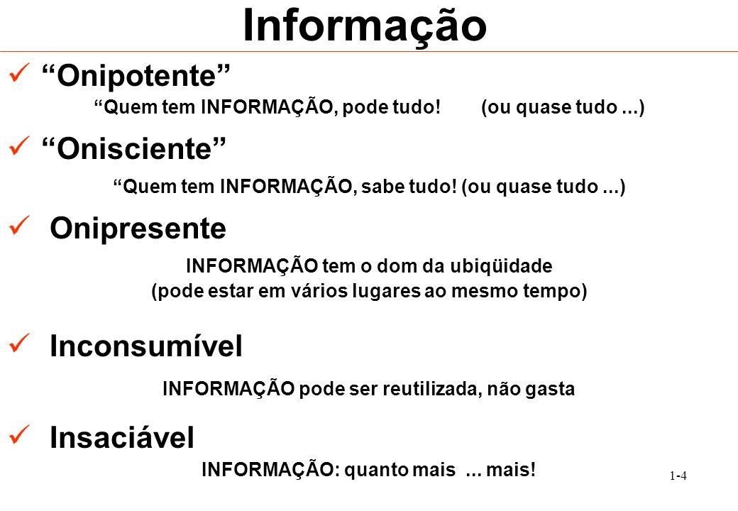 Informação Onipotente Onisciente Onipresente Inconsumível