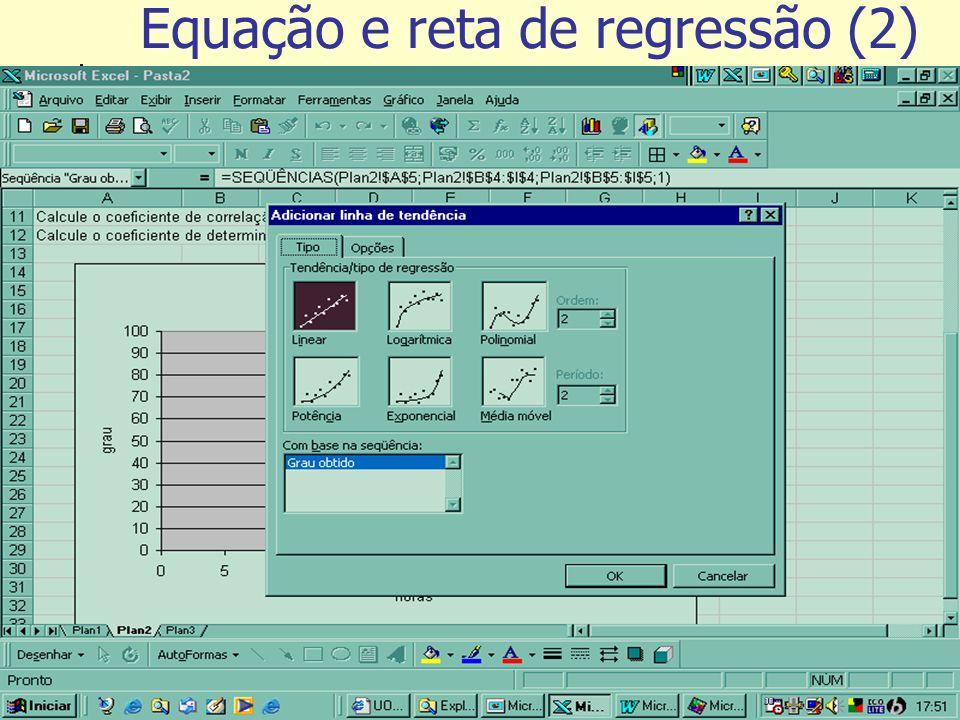 Equação e reta de regressão (2)