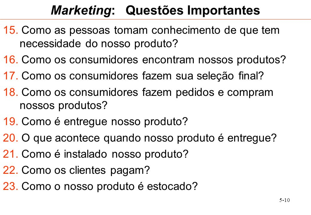 Marketing: Questões Importantes