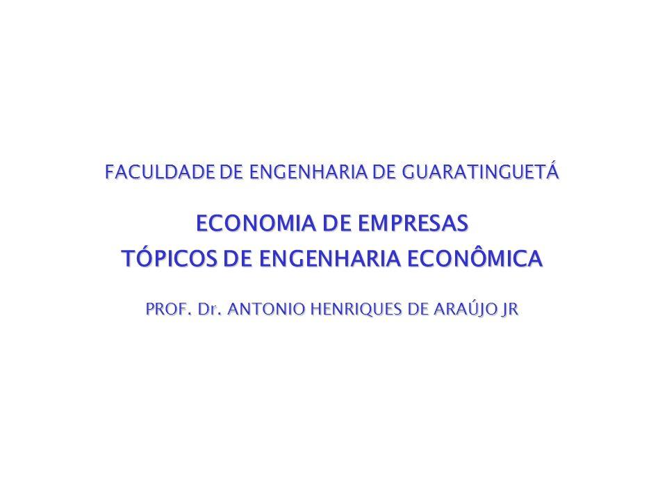 TÓPICOS DE ENGENHARIA ECONÔMICA